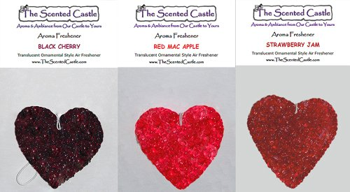 3 Pack Heart Car Air Fresheners - Black Cherry, Red Mac Apple, Strawberry Jam by The Scented Castle