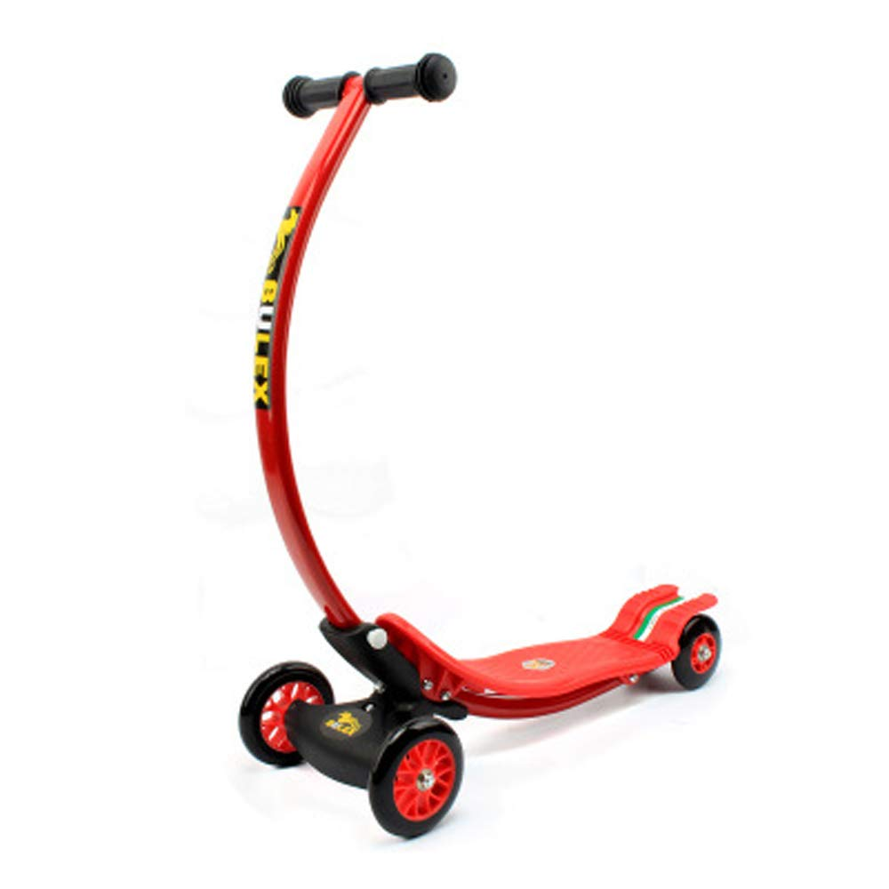 Giow Kinderroller, Tretbremsen Klappbar 4 Räder Abriebfeste Pu-Räder C-Bars rot