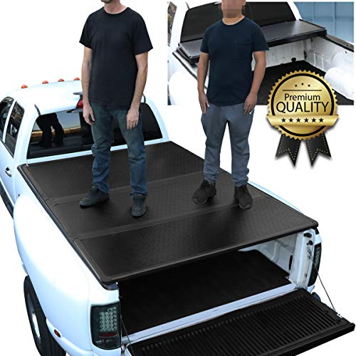 (DNA Motoring TTC-HARD-044 Pickup Truck Bed Top Hard Solid Tri-Fold Tonneau Cover)