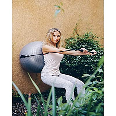 Exercise Ball W/ Removable Resistance Bands. For Pilates, Yoga, Core Strength, Balance & More! For Home, Gym, Office, Outdoor & Indoor Fitness. Incl. Ball, 2 straps + handles, 3 Plugs, Pump by Doozer