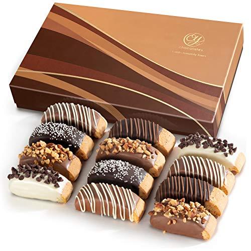 Classic Chocolate Dipped Biscotti Gift Box - 12 pc