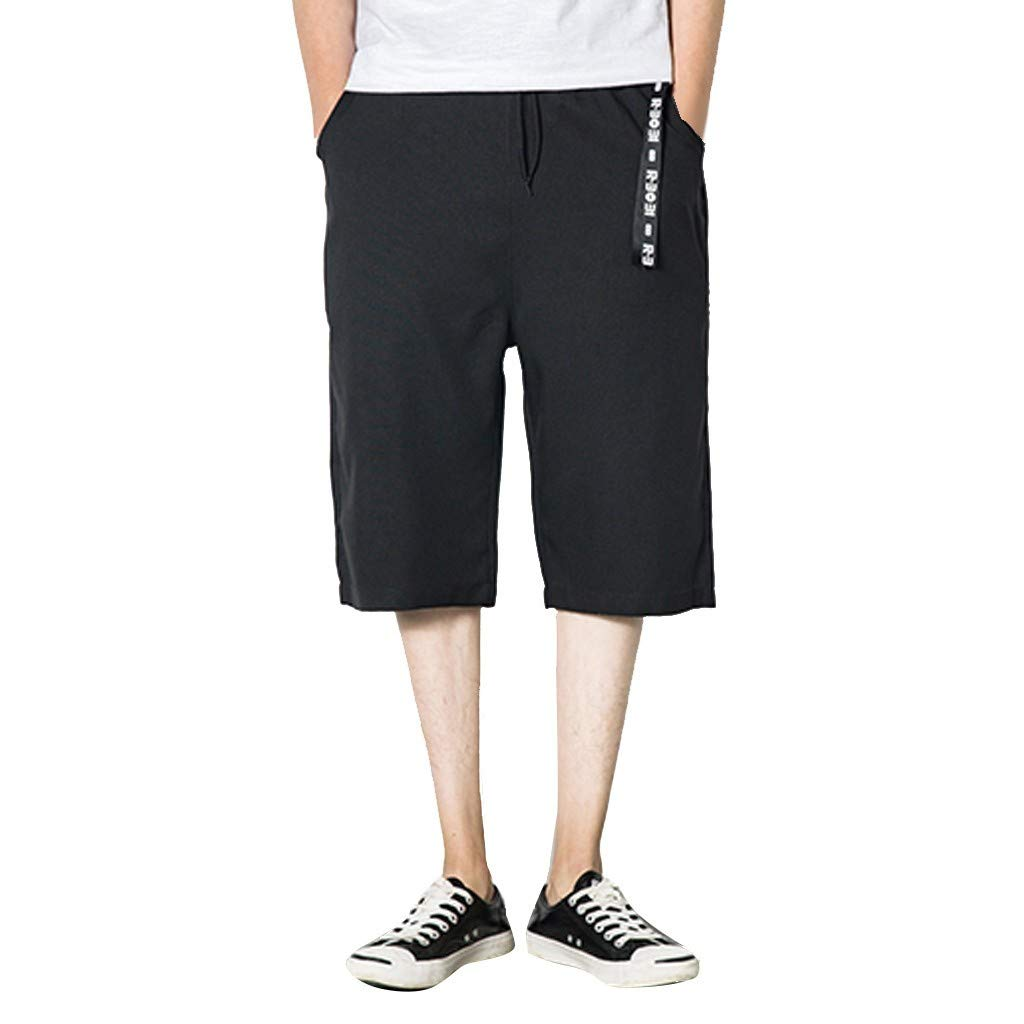 Solid Color Men's Short Pants Drawstring Summer Fashion Casual Linen Large Size Loose Wide Leg 7 Points Shorts Asibeiul (Black,L)