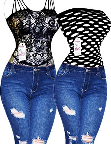 Bodystocking Romantic Lace (Daisland 2 Women Sexy Lingerie Fishnet Bodystocking Babydoll Sleepwear Plus Size Nighties (18+356 Black, 3XL))