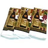 """Wine Lovers Kitchen Towels 15"""" x 25"""" 3 Pack"""