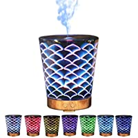 Hoomall Christmas Humidifiers Multi Function Aromatherapy Essential Oil Diffuser with 7 Color 3D Glass LED Night Lights Pattern for Children Bedroom SPA Yoga(Mermaid)
