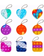 9 Pcs Simple Fidget Toy Mini Pop Fidget Toy Stress Relief Hand Toys Keychain Toy Bubble Wrap Pop Anxiety Stress Reliever Office Desk Toy for Kids Adults