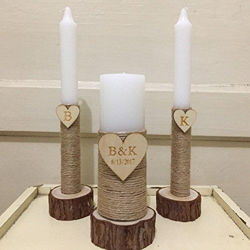 (Wedding Unity Candle Set Rustic Unity Candle Church Ceremony Set Personalized Unity Candle Wedding Ceremony Custom Candle)