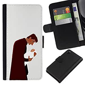 All Phone Most Case / Oferta Especial Cáscara Funda de cuero Monedero Cubierta de proteccion Caso / Wallet Case for Sony Xperia Z3 D6603 // Man Baby Father Child Family Love Art