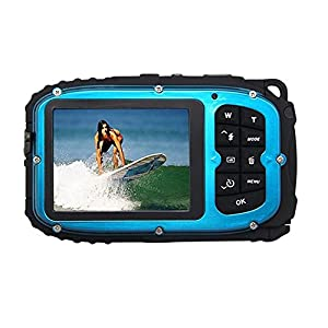 Fitiger Underwater 10m Waterproof Camera 2.7inch LCD 16MP Digital Camera 8x Zoom Compatible with Windows Vista/XP/7 System-Blue