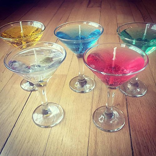 Cocktail Scented Gel Candles in Mini Martini Glass (Lt. Blue/Blue - Gel Martini Candle Glass