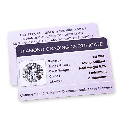 Naava - Boucles d'oreilles Diamant 0,25 cts et Or Blanc 375 - Oreilles percées