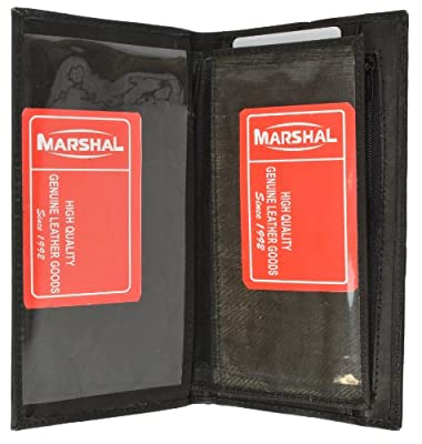 Marshal Wallet Leather Checkbook Wallet Card Case Removable Check Cover Allin1 Pocket Secretary (Black)