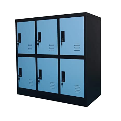 MECOLOR Metal Kids Locker for Girls Bedroom and Playroom Storage for  Clothes,Bags,Toys and Book (Blue, 6D)