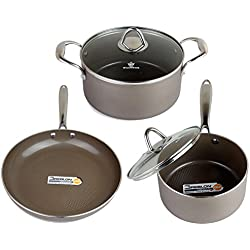 WaxonWare Hive Nonstick Cookware Set 5 PCS Pots and Pans Set (Frying Pan, Saucepan, Dutch Oven) - PTFE, PFOA and APEO Free Plus Induction & Oven Safe