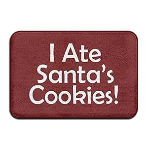 """I Ate de Papá Noel Cookies interior super absorbe barro Felpudo antideslizante Felpudo para puerta delantera 16""""x 24"""""""