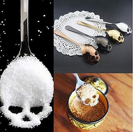 Skull Shaped Spoon Stainless Steel Coffee Spoons Dessert Ice Cream Sweets Teaspoon Black