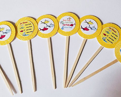 Price comparison product image 8 One Fish Two Fish Cupcake Toppers Favors Girl Boy Birthday Party Favor Tags Bags Dr Seuss