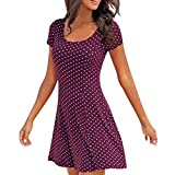 Libermall Women's Dresses Summer Dot Printed Short Sleeve Beach Sundress Evening Party Mini Dress Purple