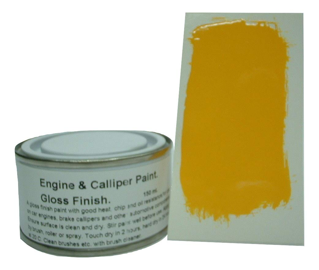 1 x 150mls Daytona Yellow Heat Resistant Gloss Brake Caliper & Engine Paint Fascinating Finishes Ltd
