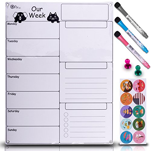 Dry Erase Weekly Magnetic Calendar Set - Whiteboard Planner for Refrigerator White Board Organizer Checklist & Message Board Attach to Fridge or Hang on Wall 17X13 inch With Markers Icons & Push Pins - Marker Pins