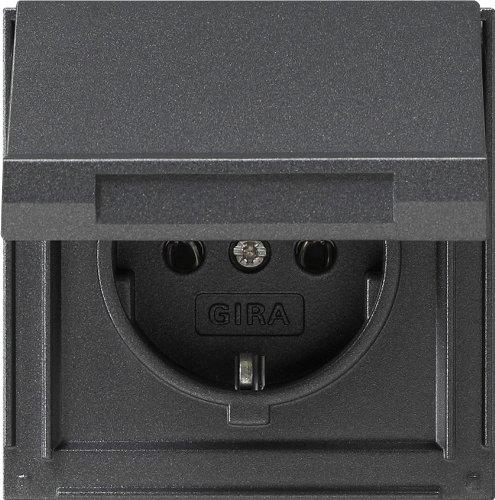 Gira 045467 TX_44 Prise de courant Schuko avec clapet protégée contre l'eau montage encastré Anthracite