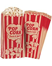 "Popcorn Bags 1.5oz Vintage Retro Style - Coated Oil/Grease Proof - Prevent Salt Popcorn Seasoning Popcorn Kernels & Pop Corn Oil to Drop - for any Popcorn Machine (Kraft / Red 10X4""(Medium)125pcs set)"