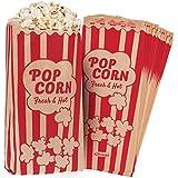 "Popcorn Bags Kraft Paper Red Printed Vintage Retro Style 125 Pcs Large 11"" X 5"" X 3"" - Coated - Oil / Grease Proof - Prevent Salt Popcorn Seasoning Popcorn Kernels & Pop Corn Oil to Drop"