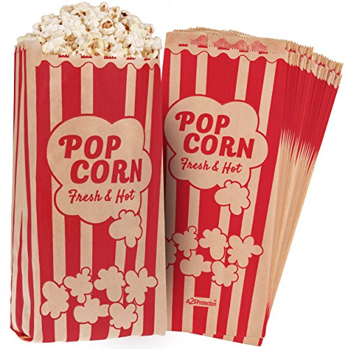 "Popcorn Bags Kraft Paper Red Printed Vintage Retro Style 125 Pcs Large 11"" X 5"" X 3"" - Coated - Oil/Grease Proof - Prevent Salt Popcorn Seasoning Popcorn Kernels & Pop Corn Oil to Drop -"