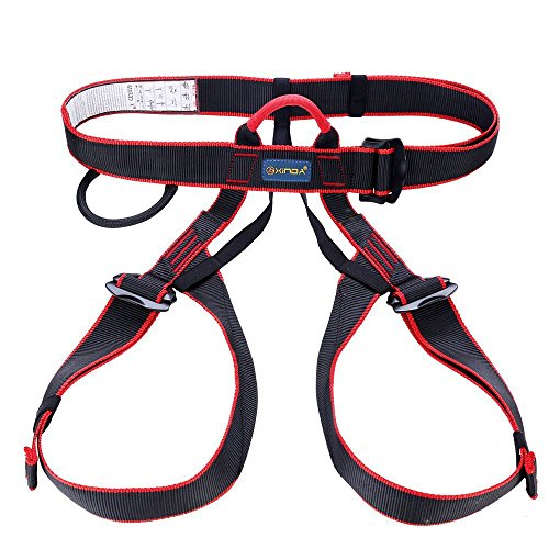 Outdoor Rock Climbing Half Body Adult Harness Rappelling Safety Work Safety Seat Belts for Mountaineering Black (Gorilla Chalk Bag)