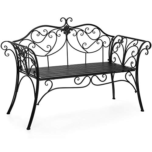 Best Choice Products 52in 2-Person Decorative Scroll Metal Patio Garden Bench Furniture w/Armrests - Black