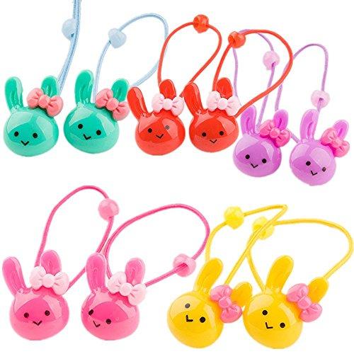 cuhair(tm) 10 Stück Kaninchen design Mädchen Kinder Pferdeschwanzhalter Haargummi Haarseil Harrband Haarschmuck