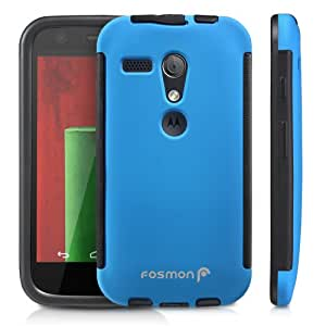 Fosmon HYBO-SNAP Durable Full Body Protection Hybrid Case with Built-In Screen Protector for Motorola Moto G (1st Generation Only) / Motorola DVX - Retail Packaging (Blue)