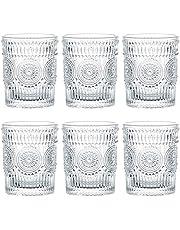 Kingrol 6 Pack 9.5 oz Romantic Water Glasses, Premium Drinking Glasses Tumblers, Vintage Glassware Set for Juice, Beverages, Beer, Cocktail