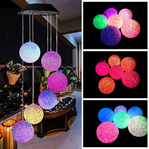 Mosteck Wind Chimes Outdoor, Solar Wind Chimes Color Changing Hummingbird Mobile Wind Chime Best Memorial Birthday Gifts for Mom Grandma Women, Decorative Romantic Patio Lights for Yard Garden Home