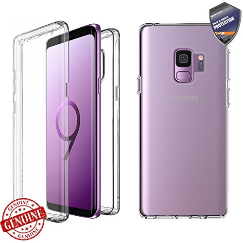 [VVUP] Clear Slim Full-body Rugged Case Protection with Built-in Screen Protector 3D TPU Coverage Cover for Samsung Galaxy S9 2018 (Galaxy S9)