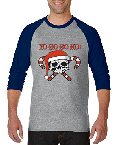 Blue Tees Yo Ho Ho Ho! Skull Candy Unisex Raglan Baseball T-Shirt Small Heather Grey (Halloween Skull Printable)