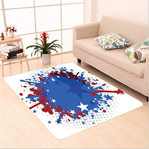 Nalahome Custom carpet ts Football Soccer Ball with Splashed Like Digital Background Image Ruby Dark Blue White and Red area rugs for Living Dining Room Bedroom Hallway Office Carpet (6.5' X 10') by Nalahome