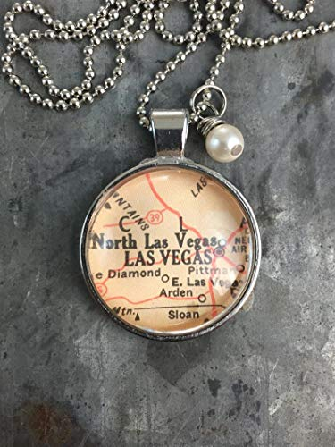 Leonid Meteor Shower Map Pendant Necklace Dome Glass Ornaments, Gifts for her, Las Vegas Nevada ()