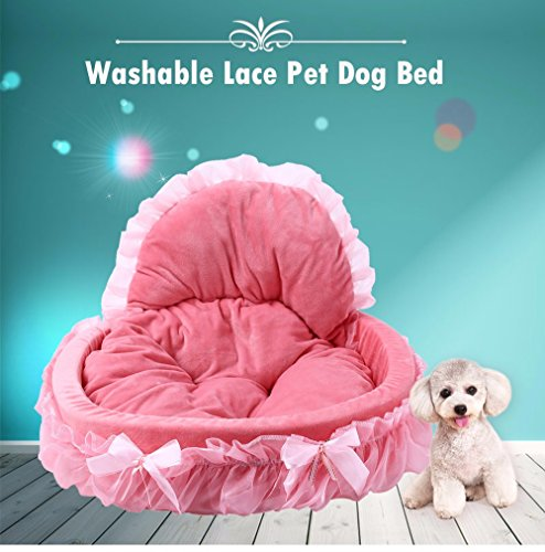 51IQst XZGL - Z-Fire Lace Velvet Dog Cat Bed with Washable Pet Cushion, Soft and Cozy Cat Dog House, Stylish Easy Clean Durable Comfortable to Your Pet