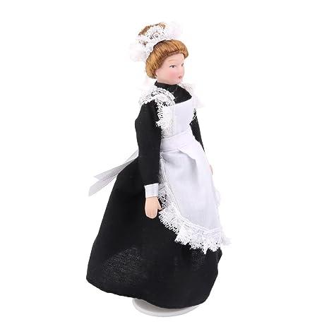 Amazon.com  MagiDeal 1 12 Scale Maid Servant In Black Dress Dolls House  Victorian Porcelain Dolls  Toys   Games c4265bd3368c