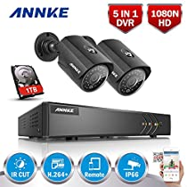 ANNKE 5-in-1 H.264+ 1080P Lite Security Camera System with 1TB Hard Drive and (2) 1.3MP 960P Wired CCTV Bullet Cameras, IR Night Vision, IP66 Weatherproof Metal Housing