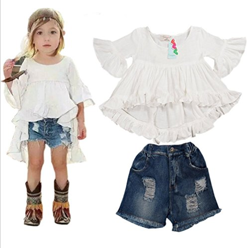BANGELY Little Girls Summer Fashion Ruffles Sleeve Dress Denim Shorts Clothes Set by BANGELY