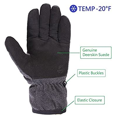 SKYDEERE Winter Glove with Warm Deerskin Suede Leather and Thick Windproof Polar Fleece