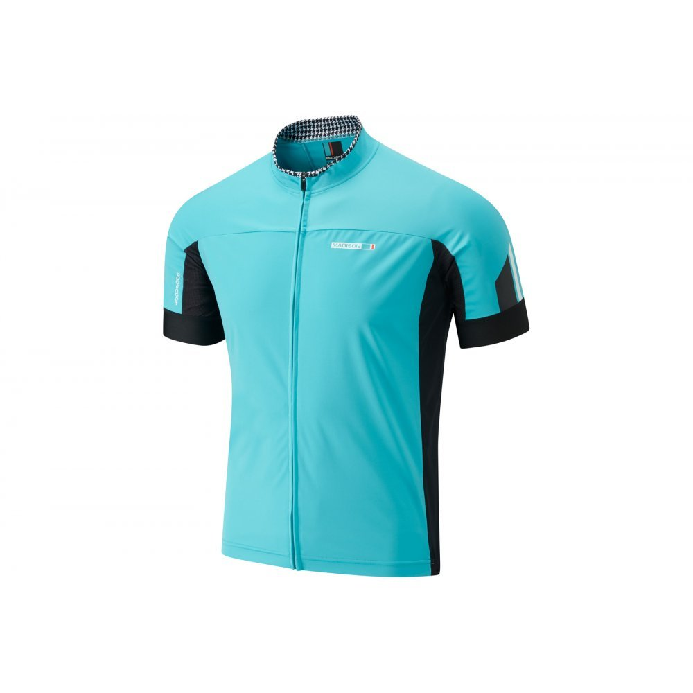 2016 Madison  Herren Windtech Short Sleeve Jersey Blau Curaco schwarz Small