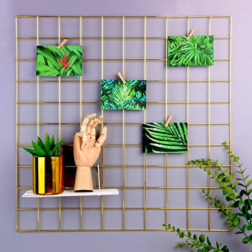 Simmer Stone Multifunction Grid Panel Photo Wall ,Wire Mesh Display Panel Decorative Iron Rack Clip Photograph Wall Hanging Picture,Fashion Art Display & Organizer Gold 1PCS ,23.6