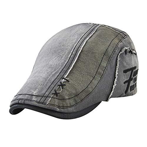 Yezijin Men Women Winter Outdoor Vintage Adjustable Gatsby Peaked Cap Newsboy Beret Hat (Gray)]()