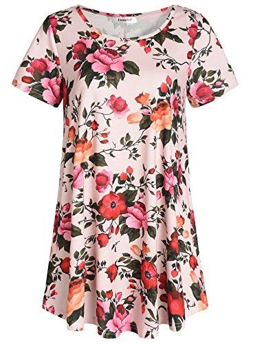 Esenchel Women's Short Sleeve Patterned Tunic Top 4X Khaki Flora