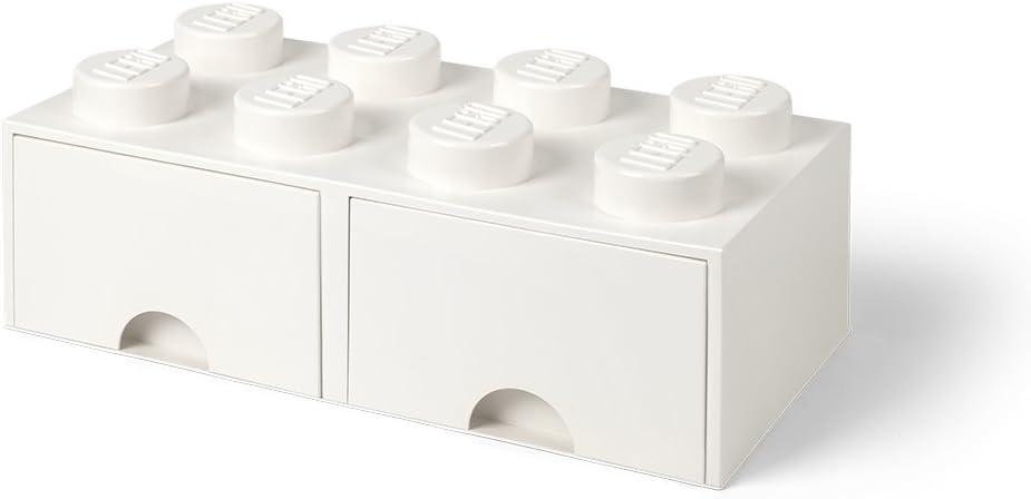 Room Copenhagen 40061735 Caja de Almacenaje Apilable, Ladrillo 8 pomos, 2 Cajones, 9.4 l, Blanco (White), 50 x 25 x 18 cm: Amazon.es: Hogar