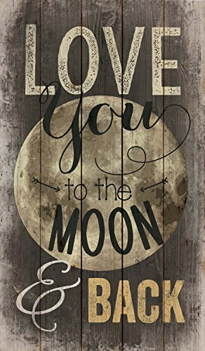 Love You to the Moon and Back Distressed Design 24 x 14 Wood Pallet Wall Art Sign Plaque