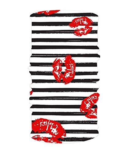 (White Stripe Lip Kiss Headwear Sport Sweatband Yoga Head Wrap For Men Women)